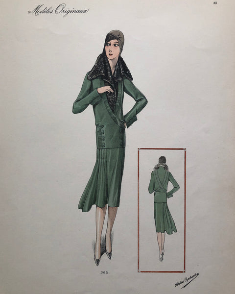 Vintage 1920s Atelier Bachroitz 3 Piece Green Skirt Suit French Fashion Pochoir
