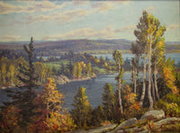 Otto Planding (Canadian, 1887-1964) Huntsville, Full Fall, Open Water Oil Painting