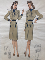 Les Croquis du Grand Chic 1930s French Fashion Beige Khaki Dress Pochoir