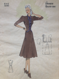 Les Croquis du Grand Chic 1940s French Fashion Brown A-Line Dress Pochoir