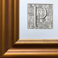 Frame of the 19th Century Ornamental Engraved Initial 'P'