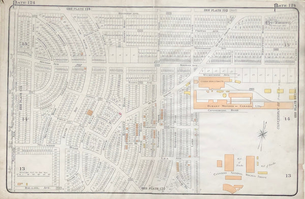 Goad Map of Toronto 1924 Plate 124 LEASIDE