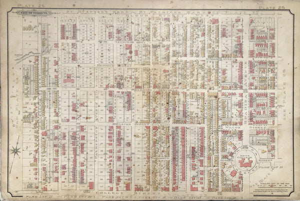 Goad Map of Toronto 1890 Plate 25  Bloor St. West to College St