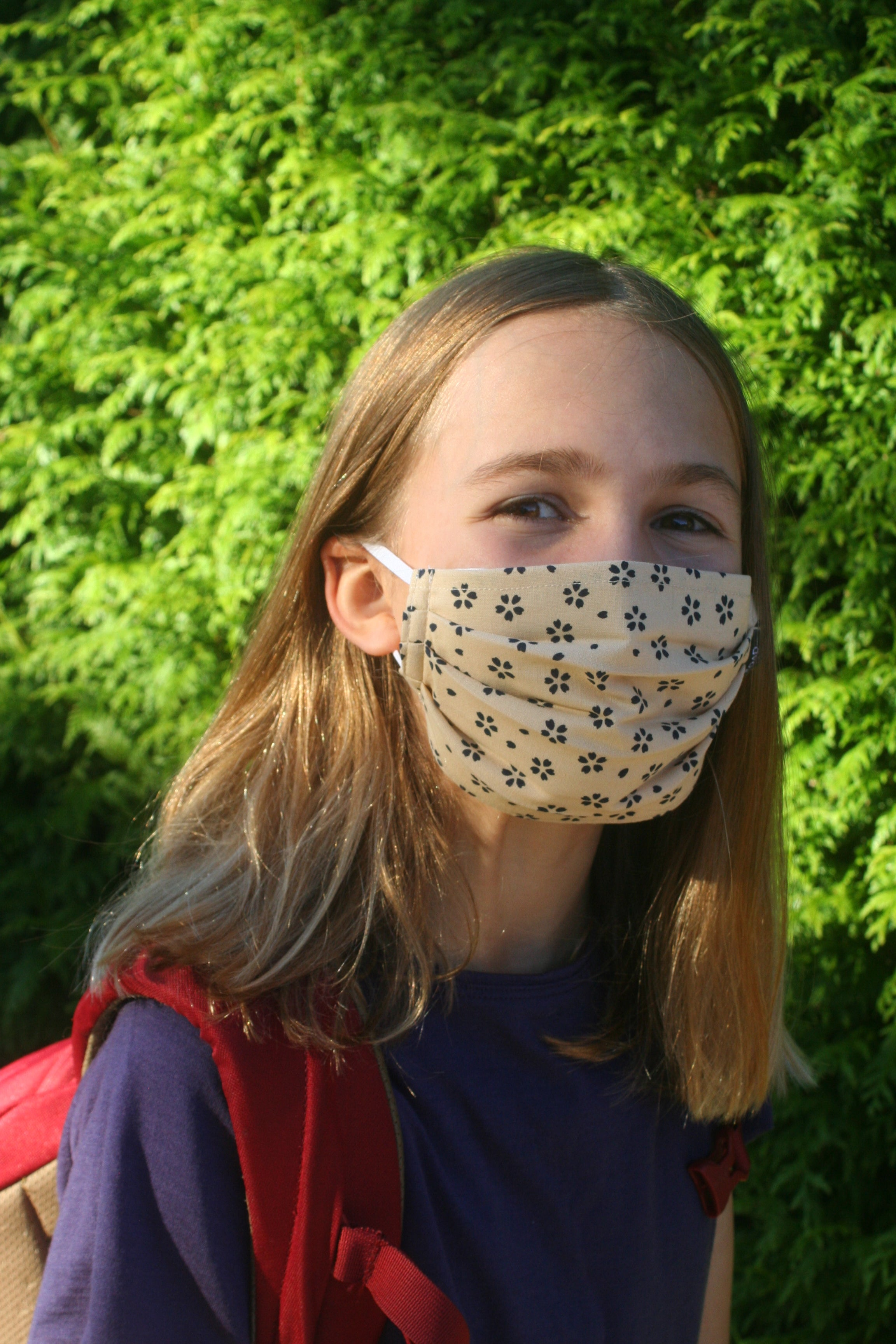 Kids Tan with Navy Pleated Cotton Mask (Single)