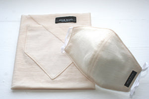 Cream Merino Bandana & Smooth Mask