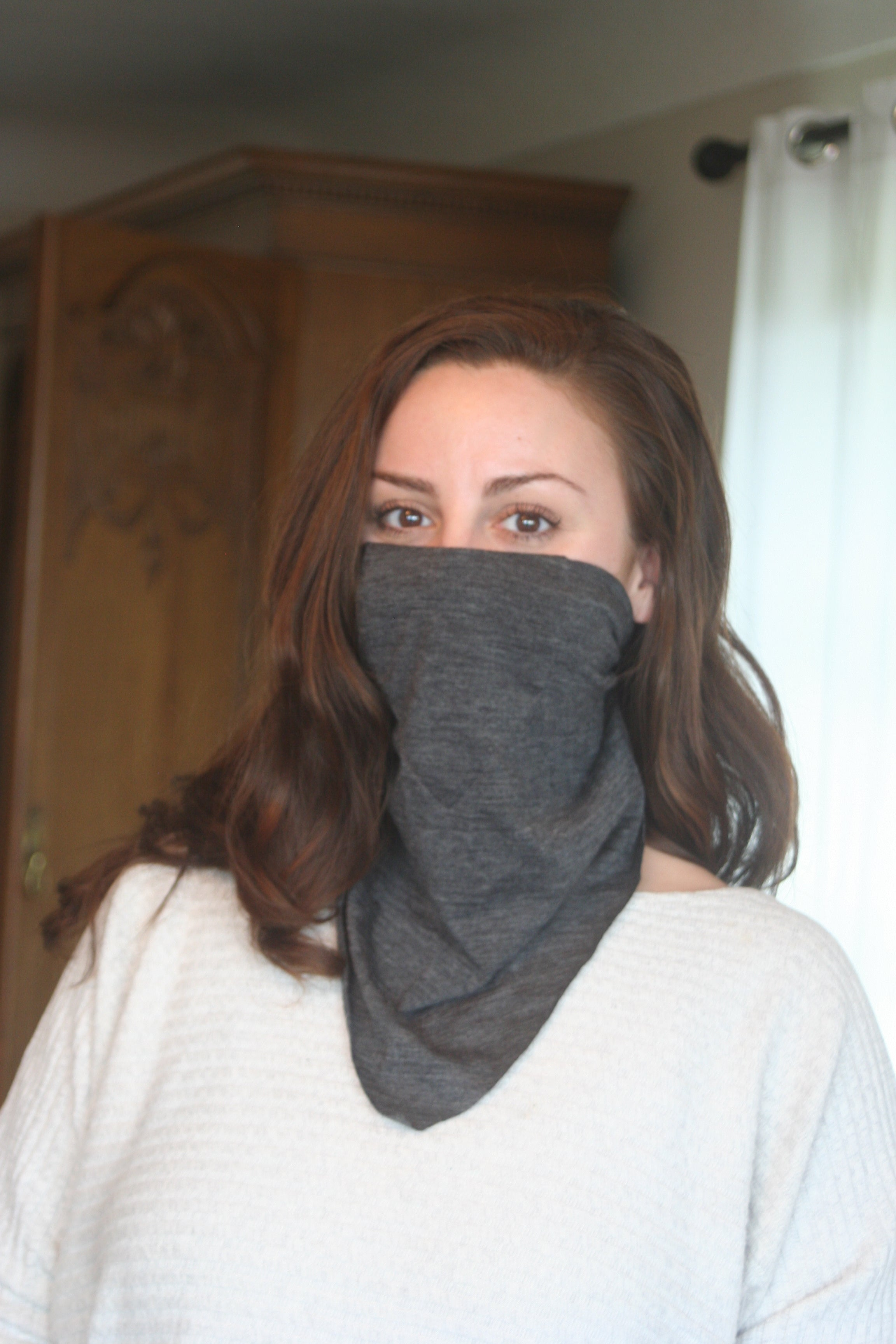 Charcoal Merino Bandana & Smooth Mask