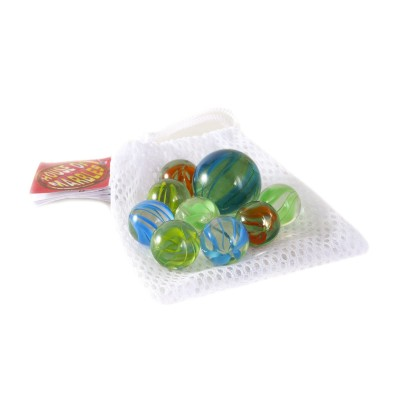 Assorted marbles in a mesh bag