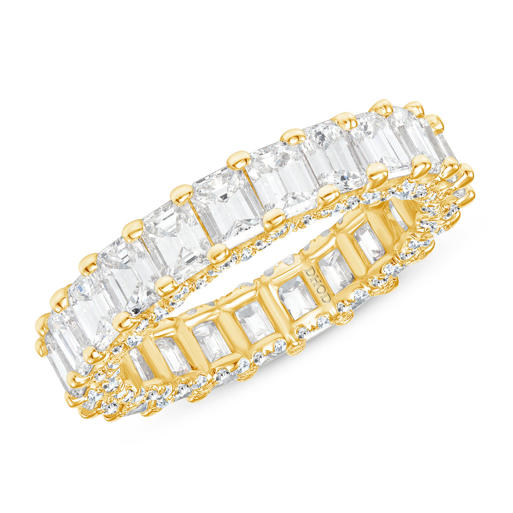 14K Gold Diamond Emerald U Prong Eternity Band