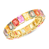 14K Gold Rainbow Sapphire Emerald Eternity Band