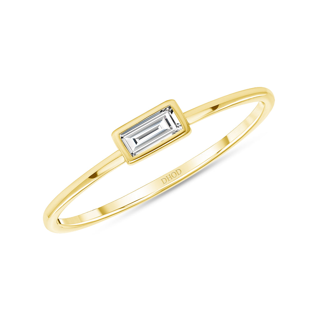14K Gold Diamond Baguette Stackable Band