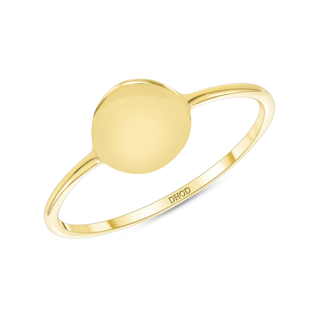 14K Gold Disc ID Ring