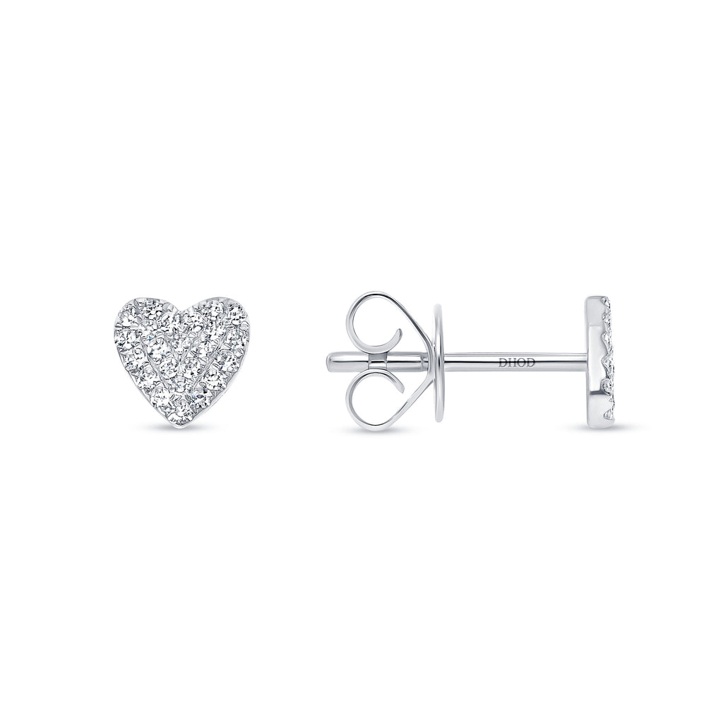 14K Gold Pave Diamond Heart Studs