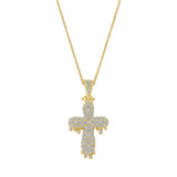 14K Gold Diamond Drip Cross Pendant