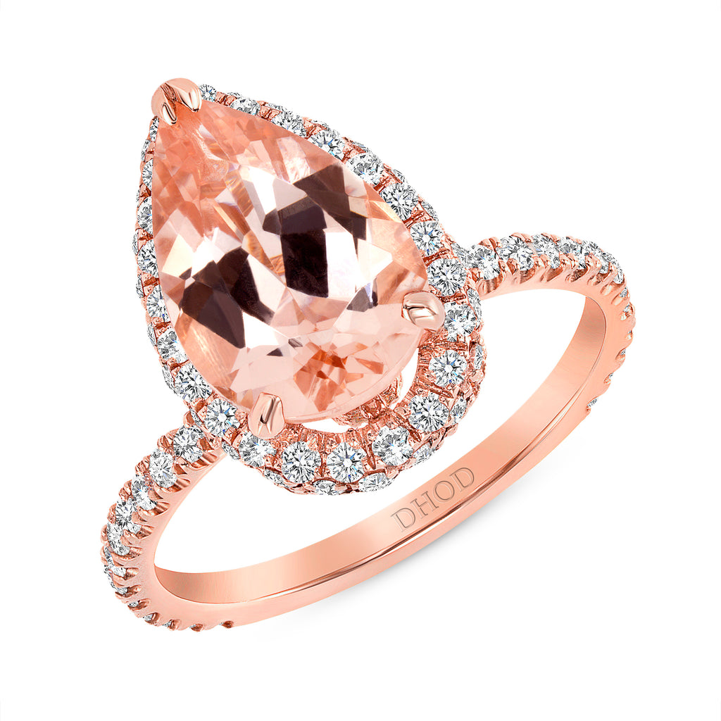 14K Gold Diamond 2D Halo with Pear Morganite Engagement Ring
