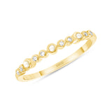 14K Gold Diamond and Pearl Stackable Band