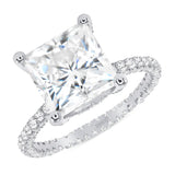 14K Gold Diamond Double Under Halo Ring with 1.91 Carat Princess Cut Forever One Moissanite Engagement Ring