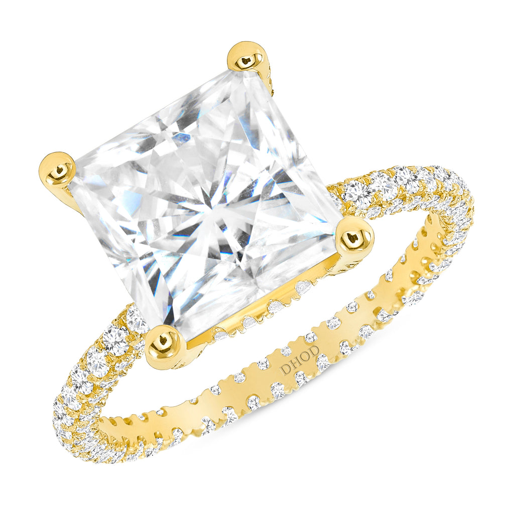 14K Gold Diamond Double Under Halo Ring w/ 4 Carat Princess Cut Forever Brilliant Moissanite Engagement Ring