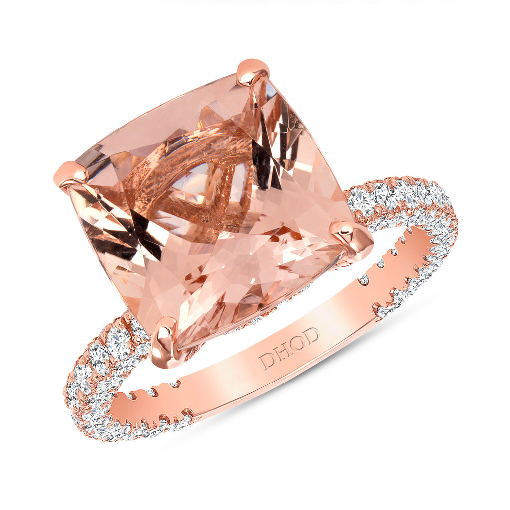 14K Gold Diamond Ring with 4ct Cushion Morganite Ring
