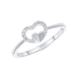 14K Gold Diamond Double Heart Ring
