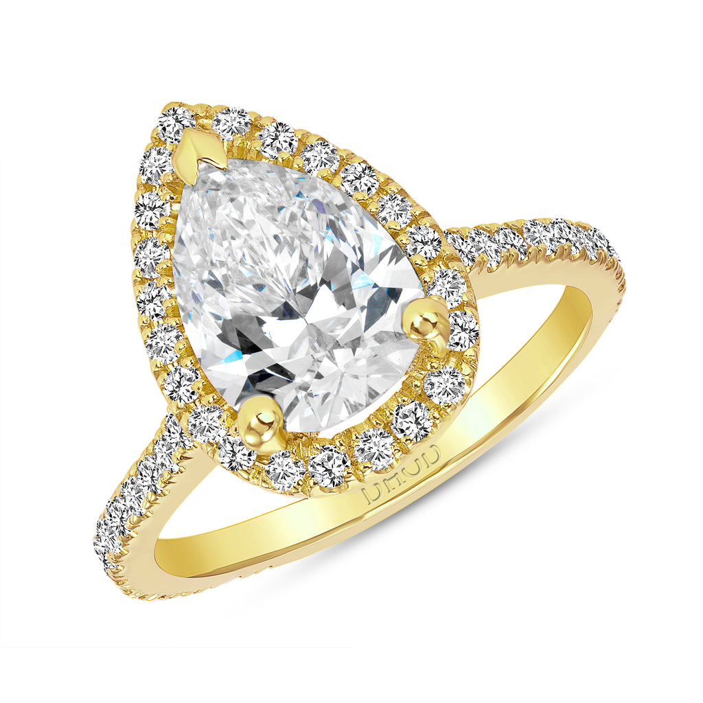 14K Gold Diamond Halo Ring with 2 Carat Pear Forever One Moissanite Engagement Ring