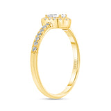 14K Gold Diamond Baguette Halo Engagement Promise Ring