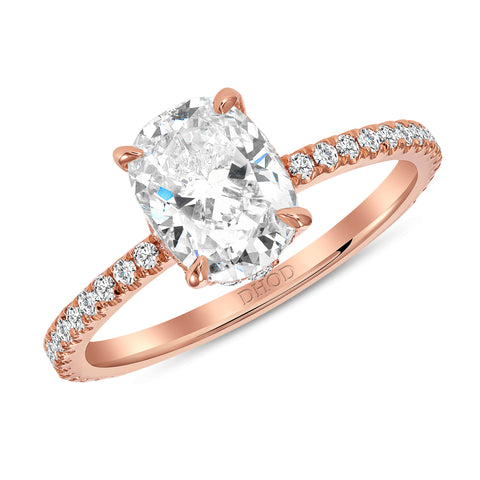 14K Gold Diamond Underhalo with 1.50ct Forever One Moissanite Engagement Ring