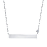 14K Gold Personalized Bar Necklace with Diamond Bezel