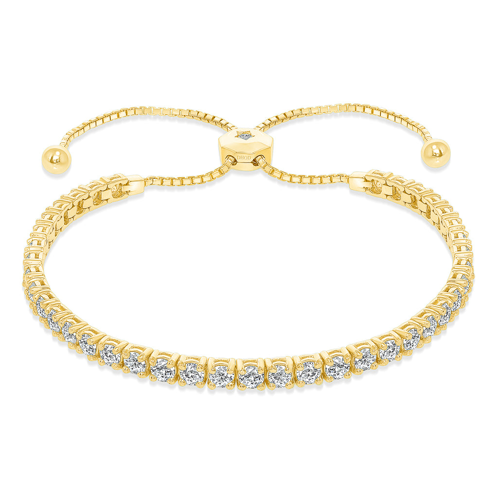 14K Gold Large Adjustable Diamond Tennis  Bracelet