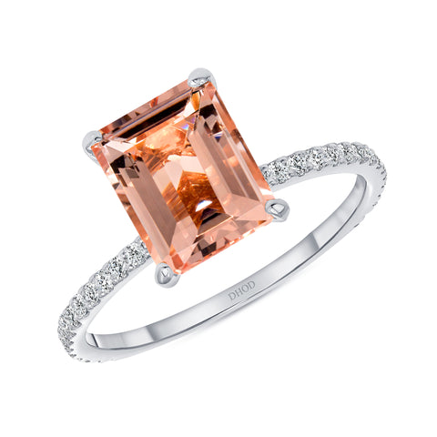 14K Gold Diamond Double Under Halo Ring with 2.50 Carats Emerald Cut Morganite Engagement Ring