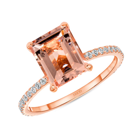 14K Gold Diamond Ring with 2.50 Carats Emerald Cut Morganite Engagement Ring
