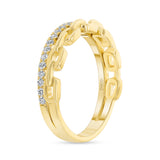 14K Gold Link Diamond Band