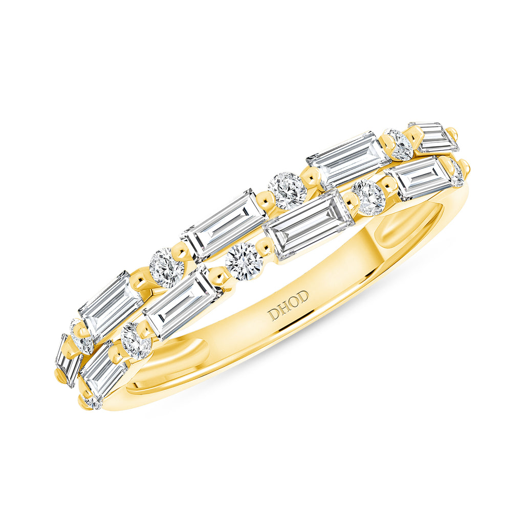 14K Gold Diamond Round Baguette Band