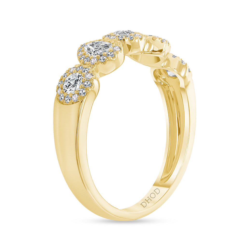14K Gold Pear and Round Diamond Halo Band