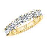 14K Gold Emerald Diamond Halfway Band