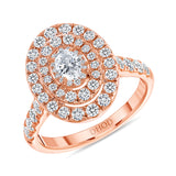 14K Gold Cluster Oval Diamond Engagement Ring