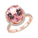 14K Gold Oval Morganite Engagement Ring