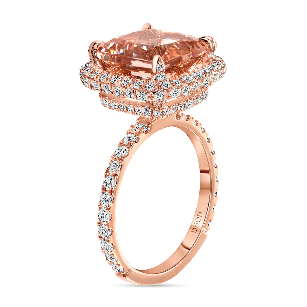 14K Gold Double Under Halo Cushion Morganite Engagement Ring