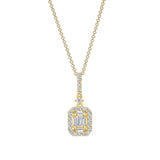 14K Gold Baguette and Round Diamond Pendant