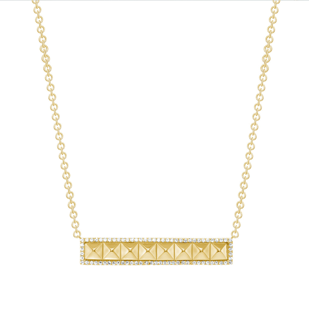 14K Gold Bar Stud Diamond Pendant