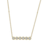 14K Gold Round Diamond Halo Bar Pendant