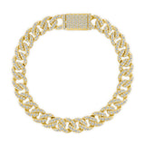 14K Gold Medium Diamond Cuban Men's Bracelet