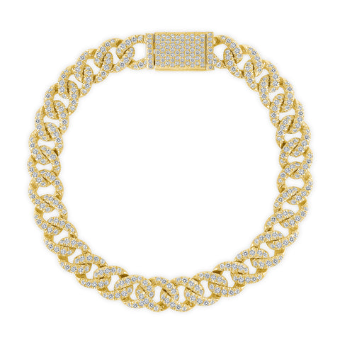 14K Gold Medium Diamond Cuban Bracelet