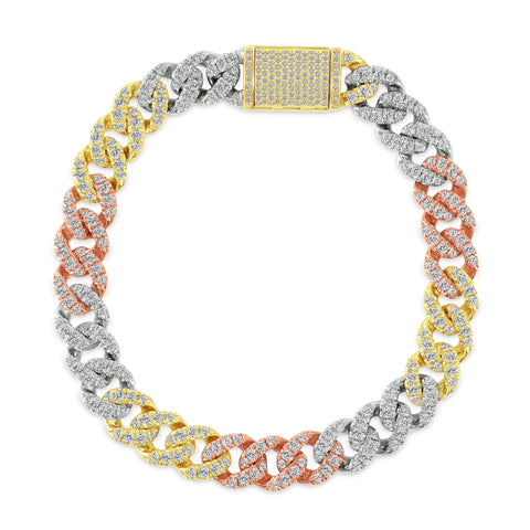 14K Tri Color Gold Medium Diamond Cuban Men's Bracelet
