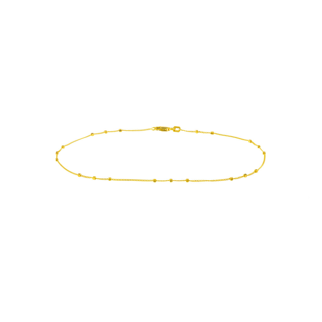14K Yellow Gold Simple Anklet