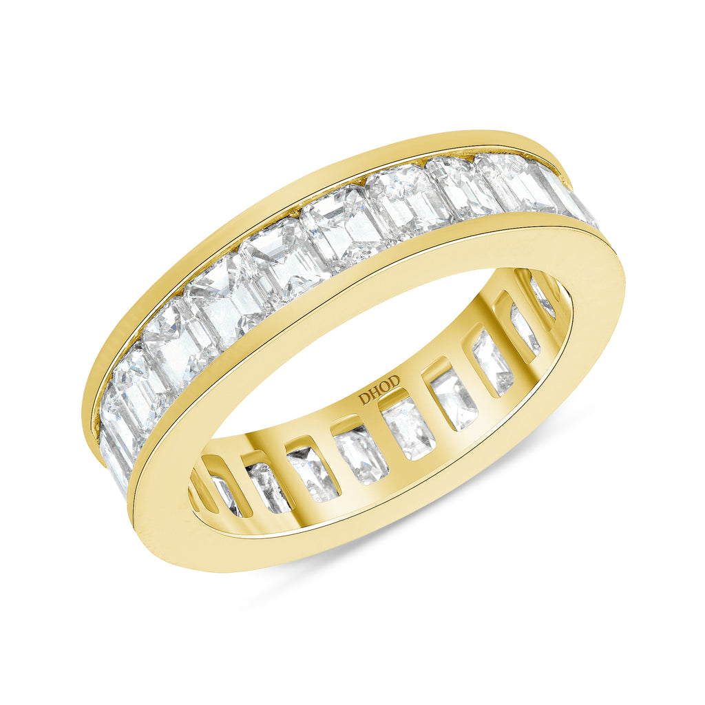 14K Gold Channel Setting Diamond Emerald Eternity Band