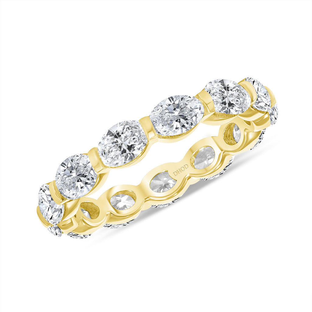 14K Gold Oval Diamond Eternity Band