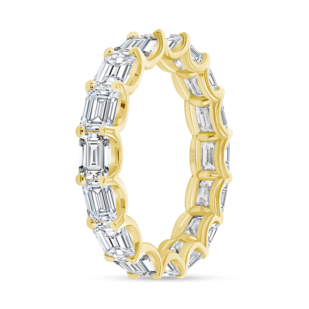 14K Gold East West Diamond Emerald Eternity Band