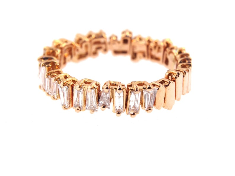 14K Gold Diamond Baguette Band