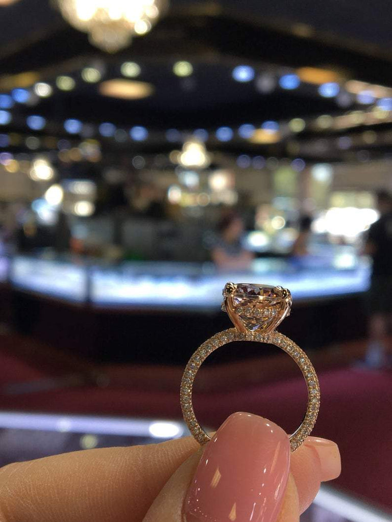 14K Gold Diamond Under Halo with 3.97 Carat Oval Morganite Engagement Ring