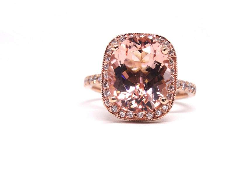 14K Gold Diamond Halo with 6 Carat Oval Shape Morganite Engagement Ring
